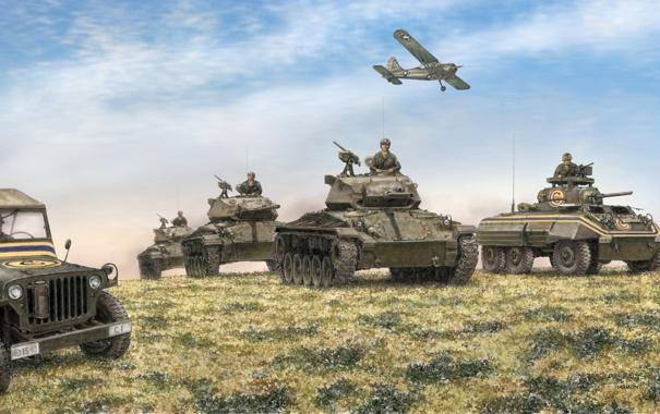 Фото обои поле, небо, арт, джип, самолёт, танки, войска