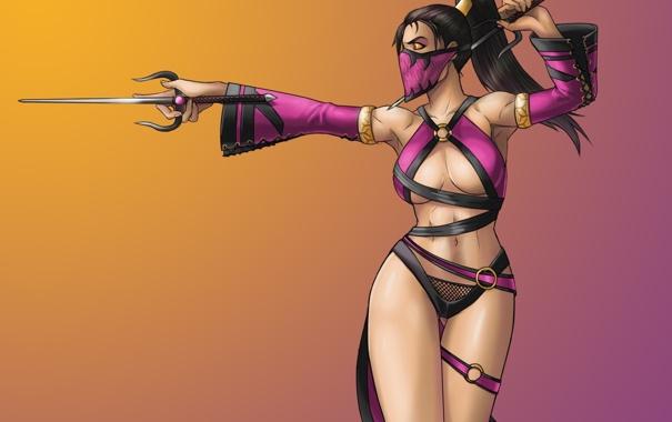 Фото обои взгляд, девушка, оружие, злость, жест, art, Mortal Kombat