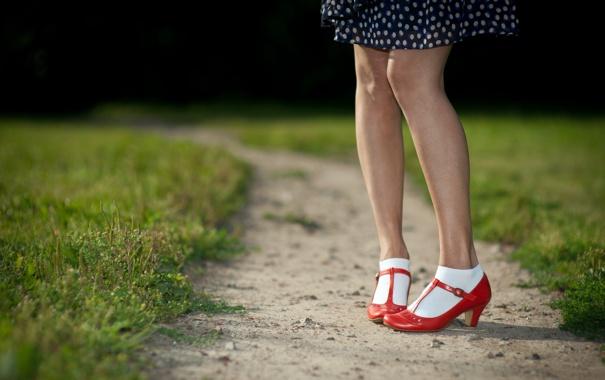 Фото обои трава, ноги, туфли