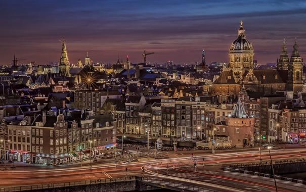 Фото обои город, огни, дома, вечер, Амстердам, канал, Нидерланды