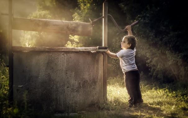 Фото обои настроение, мальчик, колодец