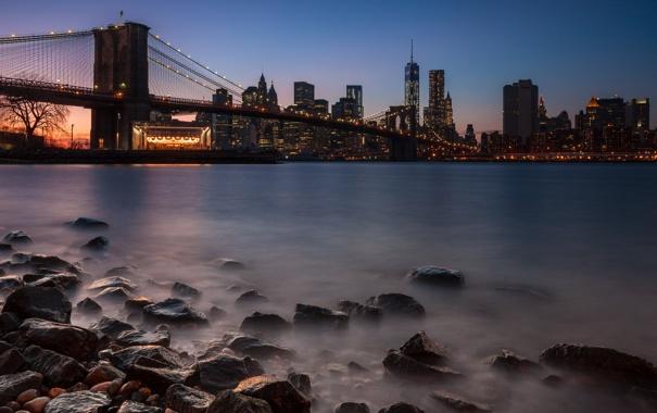 Фото обои night, new york city, dusk, cityscape, lee filters, dumbo