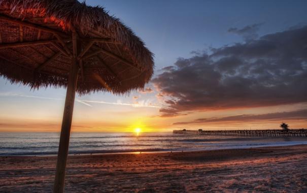 Фото обои песок, море, пляж, закат