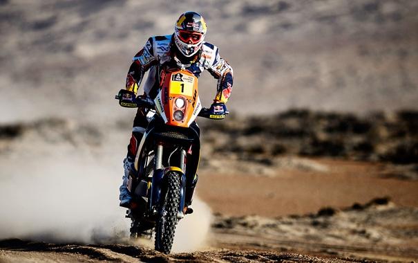 Фото обои Скорость, Мотоцикл, Гонщик, Мото, Red Bull, Дакар