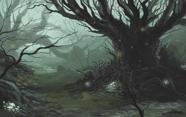 Фото обои лес, дерево, грибы, чаща, фэнтези, арт