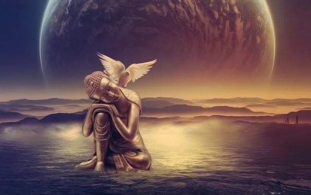 Фото обои вода, люди, птица, сюрреализм, планета, статуя
