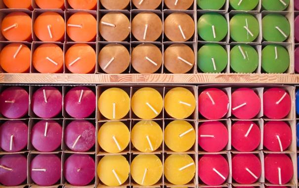 Фото обои цветные, свечи, много, свечки