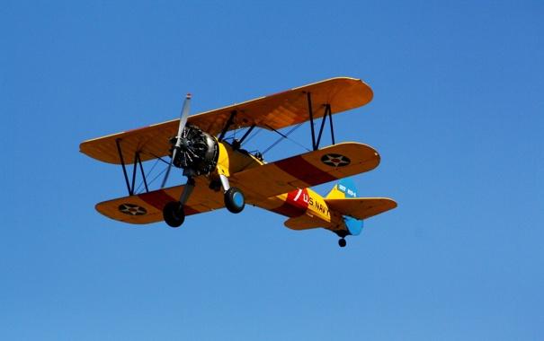Фото обои небо, самолёт, биплан