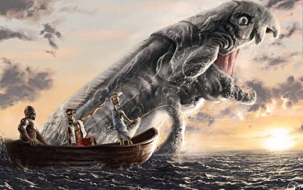 Фото обои море, лодка, монстр, рыбка, рыбаки