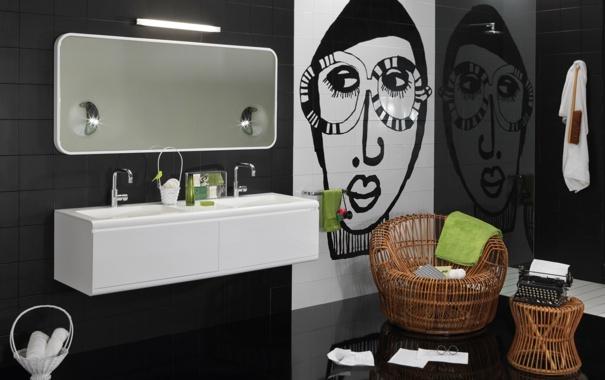 Фото обои белый, дизайн, черный, интерьер, ванна, ванная комната