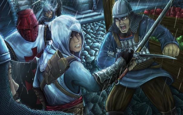 Фото обои ночь, дождь, assassins creed, альтаир, тамплиеры, ассасин