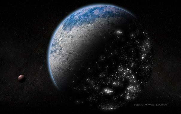 Фото обои ночь, огни, города, планета