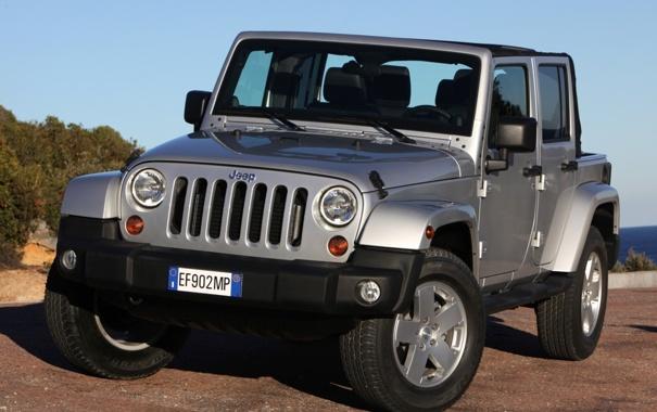Фото обои небо, джип, внедорожник, сахара, передок, jeep, wrangler