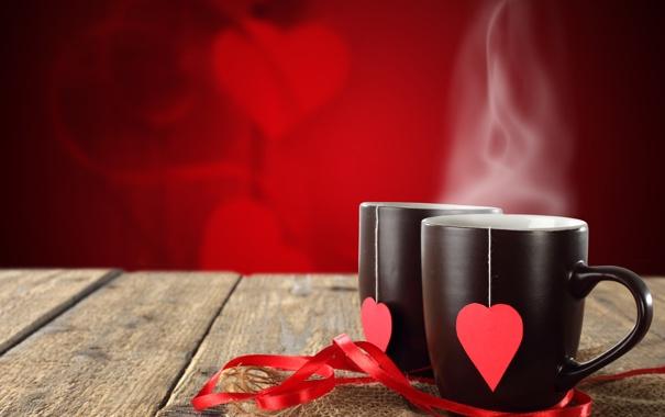 Фото обои love, hot, drink, coffee, valentine, cafe, mugs