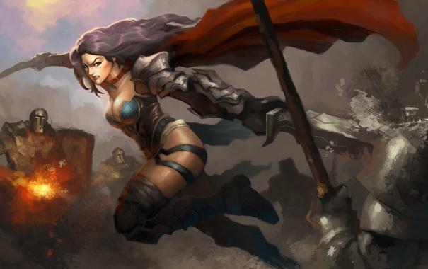 Фото обои девушка, меч, воин, арт, битва, плащ