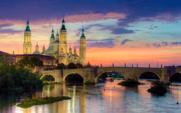 Фото обои закат, мост, город, река, фото, рассвет, Испания