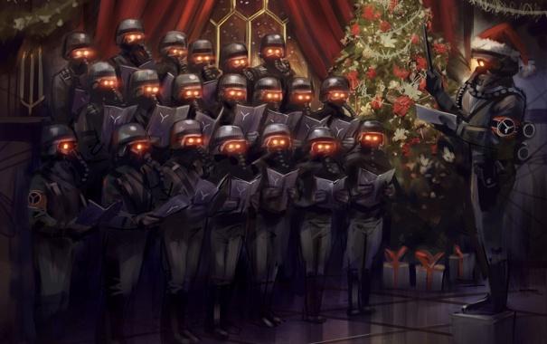 Фото обои игра, елка, рождество, маски, Christmas, Killzone 3