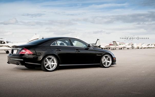 Фото обои чёрный, Mercedes-Benz, C219, black, мерседес, AMG, самолёты