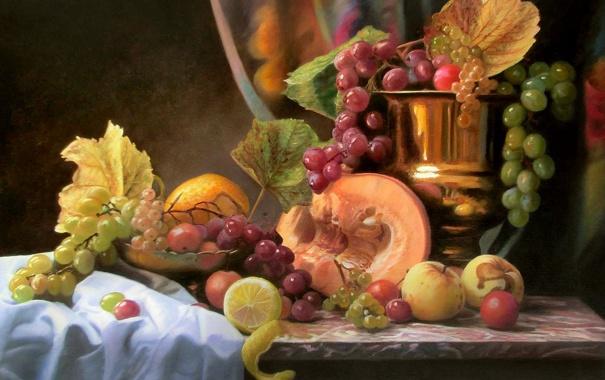 Фото обои листья, ягоды, стол, яблоки, картина, чаша, виноград