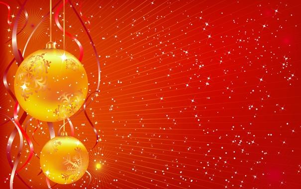 Фото обои шарики, лучи, свет, праздник, обои, рождество, лента