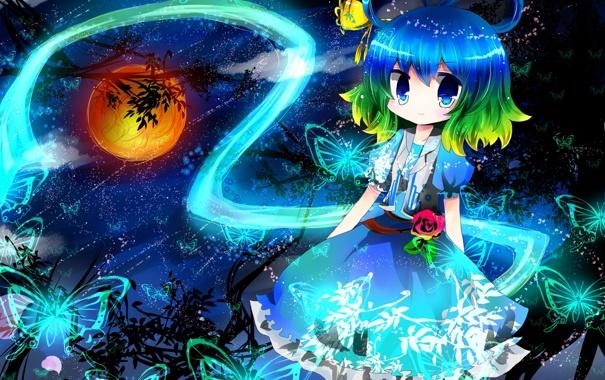 Фото обои звезды, облака, деревья, бабочки, ночь, луна, арт
