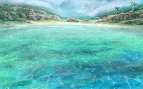 Фото обои море, вода, природа, камни, пальмы, скалы, остров