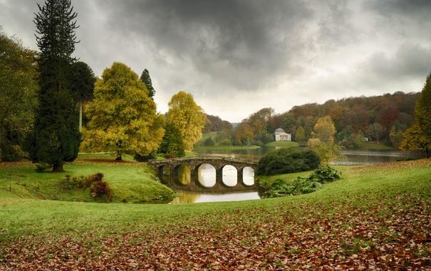 Фото обои поле, мост, Природа