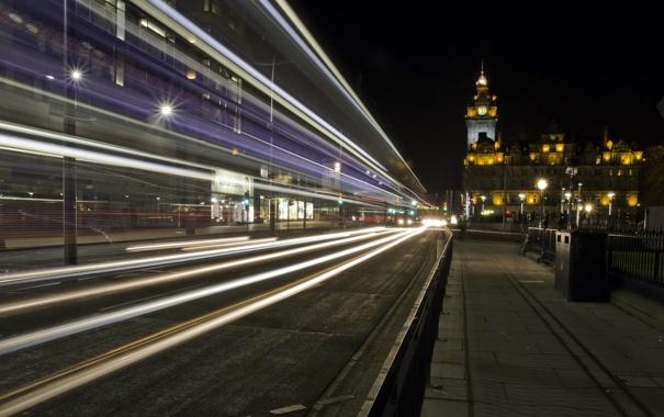 Фото обои ночь, город, Edinburgh, Princess Street