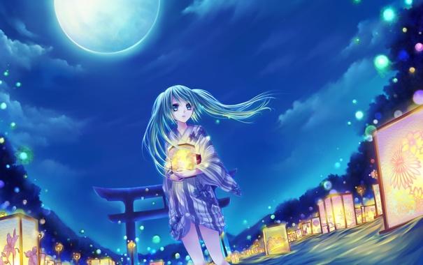 Фото обои небо, вода, облака, деревья, ночь, природа, луна