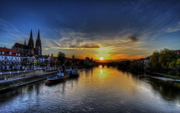 Фото обои закат, Германия, Germany, sunset, Регенсбург, Regensburg