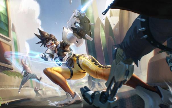Фото обои девушка, герой, blizzard, Blizzard Entertainment, tracer, overwatch, Lena Oxton