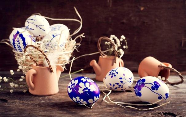 Фото обои цветы, яйца, посуда, корзинка, роспись