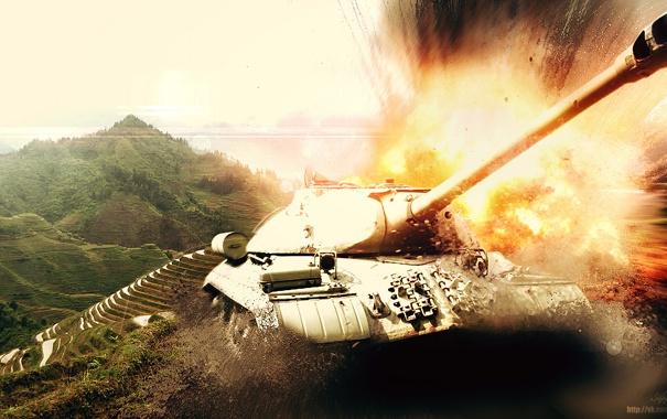Фото обои горы, взрыв, огонь, арт, танк, СССР, танки
