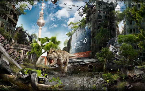 Фото обои апокалипсис, разрушения, Динозавр