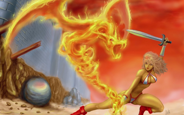 Фото обои девушка, оружие, фантастика, меч, арт, огненный дракон