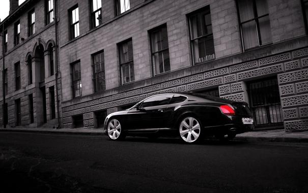 Фото обои Авто, Bentley, Continental, Черный, Город, Машина, Здания