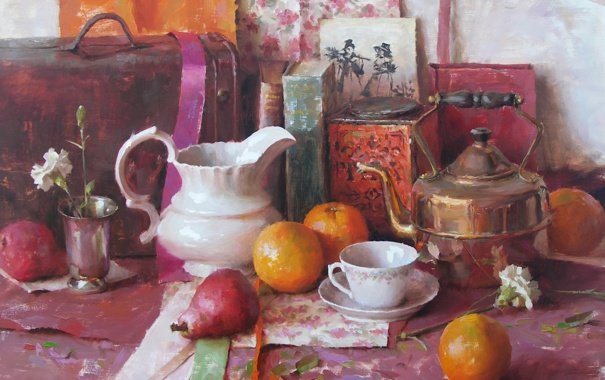 Фото обои цветок, книги, апельсины, картина, чайник, чашка, чемодан