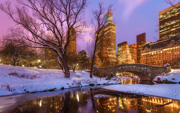 Фото обои зима, снег, деревья, закат, мост, озеро, отражение