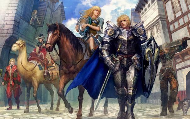 Фото обои небо, улица, дома, Девушка, собака, лошади, рыцари