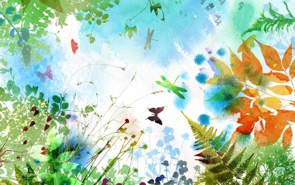 Фото обои листья, бабочки, цветы, ветки, папоротник, стрекозы