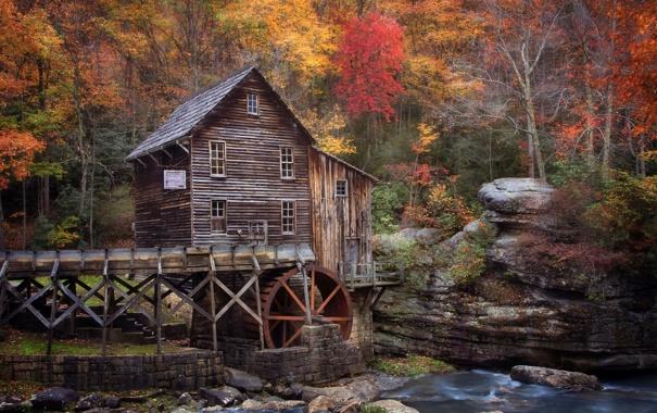 Фото обои осень, река, США, штат, Октябрь, Западная Виргиния, водяная мельеица