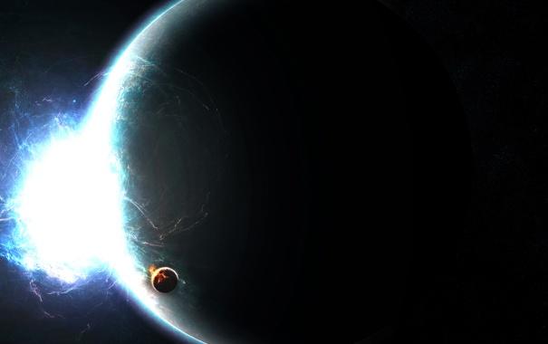 Фото обои энергия, космос, планета, спутник