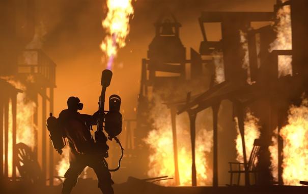Фото обои огонь, Valve, Team Fortress 2, Pyro, Поджигатель, Пиро