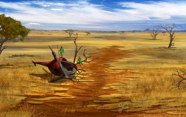 Фото обои деревья, люди, остов, арт, вертолет, саванна, аборигены