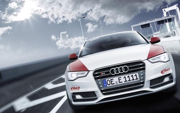 Фото обои Ауди, Audi, небо, солнце, тюнинг, передок, купе