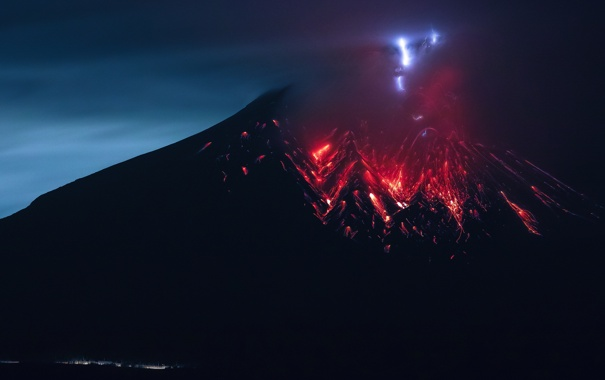 Фото обои огонь, стихия, вулкан, извержение, лава, Сакурадзима