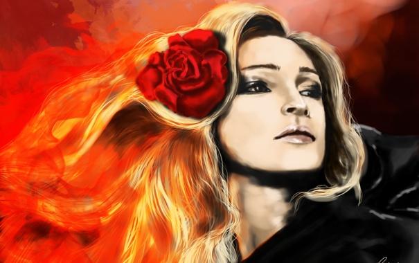Фото обои цветок, девушка, лицо, огонь, роза, арт, блондинка