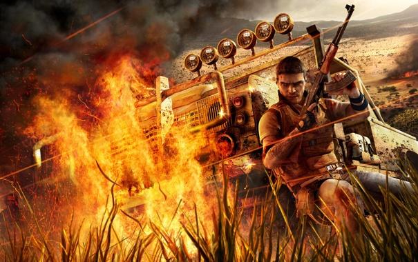 Фото обои огонь, игра, Far Cry 2, африка, пламе