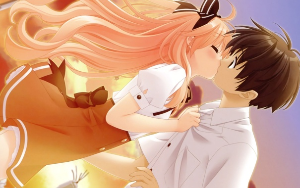 Фото обои поцелуй, аниме, арт, девочка, парень