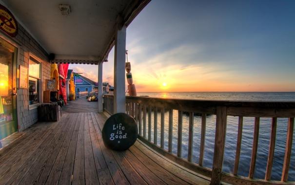 Фото обои море, солнце, дом, life is good, идиллия
